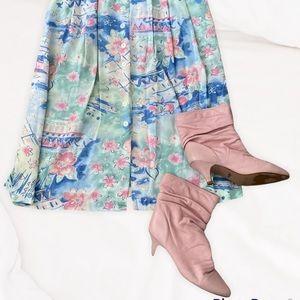 Vintage Zodiac pink leather boots women's 7.5